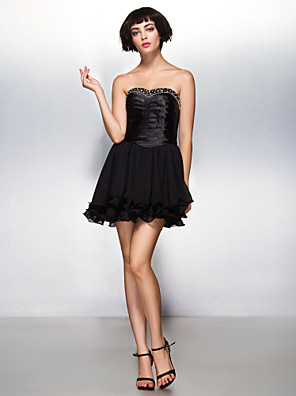 ts couture® cocktail party dress-line kochanie krótkie / mini / szyfon rozciągliwej satyny z Frezowanie / criss cross
