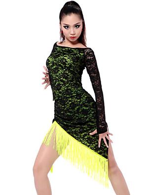 Dança Latina Roupa Mulheres Actuação / Treino Náilon Chinês / Elastano / Poliéster Renda / Borla(s) 2 Peças Manga Comprida Saia / TopTop