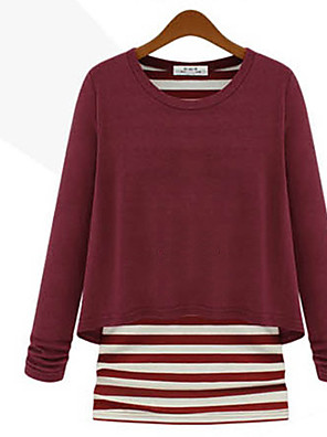 Women's Patchwork Red / Black T-shirt , Round Neck Long Sleeve