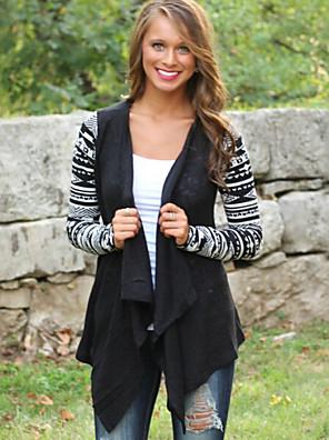 Dámské Geometrický Kabát-Polyester Podzim Spadlý nabíraný výstřih Dlouhý rukáv Černá Tenké