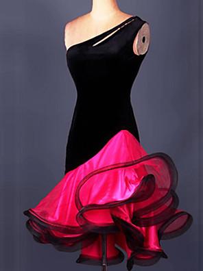 Latin Dance Dresses&Skirts Women's Performance / Training Crepe / Velvet / Viscose Ruched 1 Piece 5 Colors
