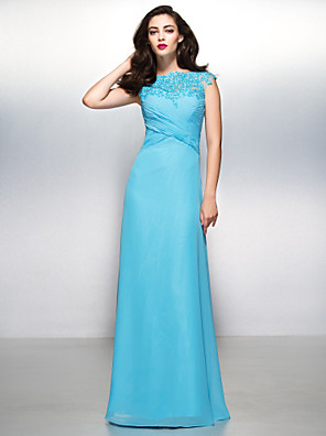 ts couture® vestido de noche formal de vaina / columna barco piso de longitud gasa / cordón con apliques / cordón / Criss Cross