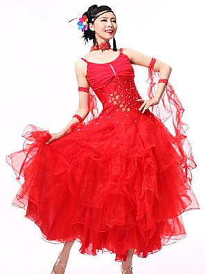 Dança de Salão Roupa Mulheres Actuação Elastano / Renda Cristal/Strass / Paetês / Franzido 4 Peças Sem MangasVestidos / Neckwear /