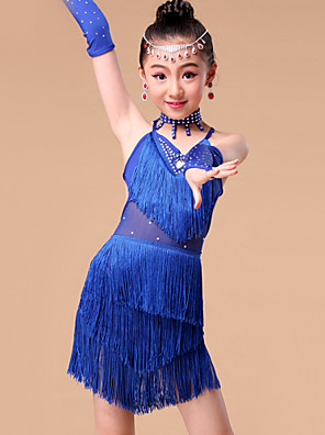 ריקוד לטיני תלבושות בגדי ריקוד ילדים ביצועים מילק פייבר קריסטלים / rhinestones / גדיל (ים) 5 חלקים כפפות / חצאית / Neckwear / עליוןS:55cm