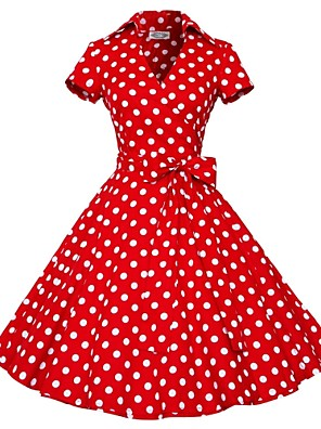 Klassiek en tradtioneel Lolita Korte Mouw Gemiddelde Lengte Rood Katoen Lolita Dress
