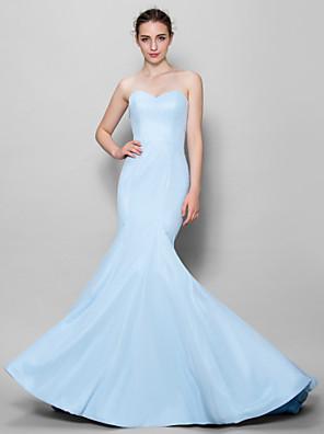 Lanting Bride® עד הריצפה שיפון שמלה לשושבינה  בתולת ים \ חצוצרה מחשוף לב עם
