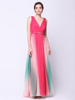 TS couture® 공식적인 저녁 드레스 - 골 크로스 컬러 그라데이션 A 라인 V 넥 발목 길이 쉬폰
