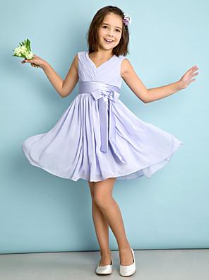 Lanting Bride® באורך  הברך שיפון שמלה לשושבינות הצעירות  גזרת A צווארון וי עם פפיון(ים) / בד בהצלבה