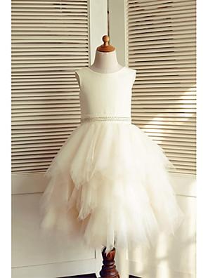 A-line Knee-length Flower Girl Dress - Satin / Tulle Sleeveless Scoop with