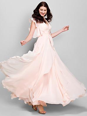 Lanting Bride® Ankellængde Chiffon Brudepigekjole A-linje V-hals med Pjuskede flæser