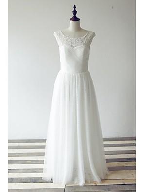 A-라인 웨딩 드레스 바닥 길이 스쿱 레이스 / 튤 와 크리스-크로스 / 레이스