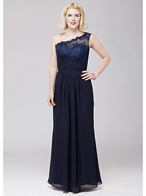 Floor-length Chiffon / Lace Bridesmaid Dress A-line One Shoulder with Lace / Sash / Ribbon