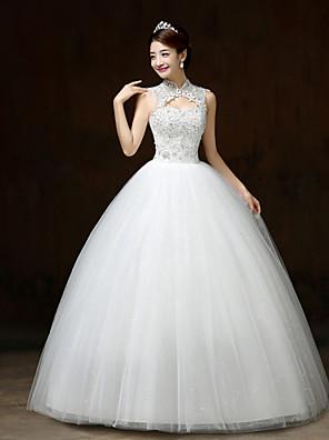 볼 드레스 웨딩 드레스 바닥 길이 하이 넥 새틴 / 튤 와 꽃장식 / 스팽글 / 비즈