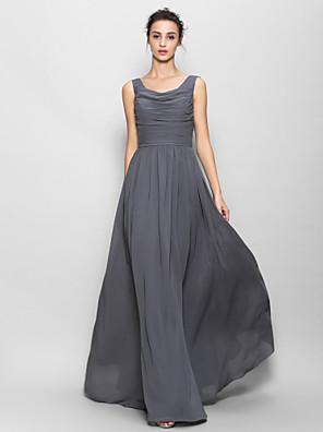 Lanting Bride® עד הריצפה שיפון שמלה לשושבינה - גזרת A מחשוף עמוק עם סלסולים