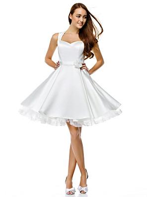 칵테일 파티 couture® TS는 버튼이있는 줄 아가 무릎 길이 새틴 드레스 / 꽃 (들)