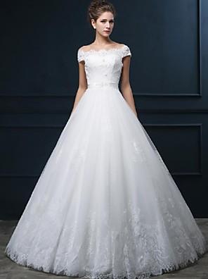 Linha A Vestido de Noiva Longo Ombro a Ombro Tule com Com Apliques