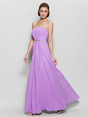 A-line Mother of the Bride Dress Floor-length Sleeveless Chiffon with Crystal Detailing