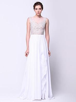 TS couture® 공식적인 저녁 아플리케와 온라인 특종 청소 / 브러쉬 기차 쉬폰 / 레이스 / 얇은 명주 그물 드레스