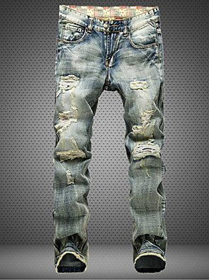 Masculino Jeans Casual / Tamanhos Grandes Cor Solida Algodão Cinza