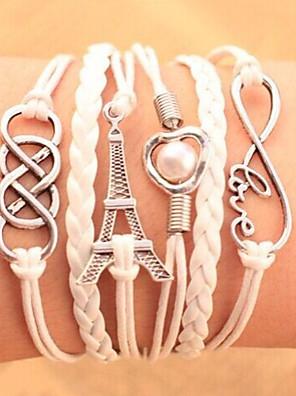 Armbanden Armbanden met ketting en sluiting / Vintage Armbanden / Lederen armbanden / Wikkelarmbanden Legering / Leder LiefdeFeest /