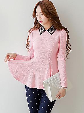 Women's sloid Pink / White Shirt,shirt collar long sleeve beaded shirts