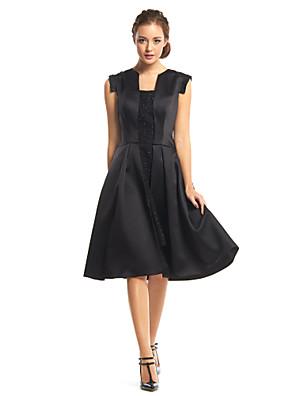 TS couture® 칵테일 파티 장식 조각과 온라인 광장 무릎 길이 새틴 드레스