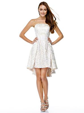 칵테일 파티 couture® TS는 레이스와 줄 끈이 비대칭 레이스 드레스