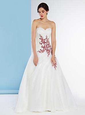 Lanting Bride A-line Wedding Dress-Sweep/Brush Train Sweetheart Chiffon / Lace