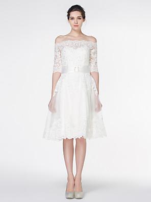 Lanting Bride® Linha A Vestido de Noiva Até os Joelhos Ombro a Ombro Renda com Renda