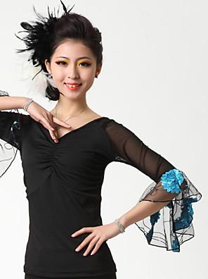 ריקודים סלוניים חלקים עליונים בגדי ריקוד נשים ביצועים קרפ / מילק פייבר עטוף חלק 1 עליון Top M:52cm / L:53cm / XL:54cm / XXL:55cm