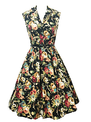 Women's Summer Fashion Printed High Waist Sleeveless Dress