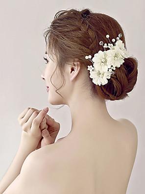 נשים / נערת פרחים ריינסטון / דמוי פנינה / אורגנזה / בד כיסוי ראש-חתונה / אירוע מיוחד פרחים חלק 1
