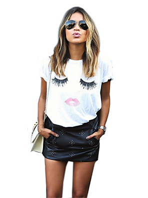 Tryck Kortärmad T-shirt Kvinnors Rund hals Bomull / Akryl / Polyester / Nylon / Elastan