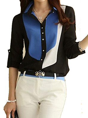 여성의 컬러 블럭 셔츠 카라 긴 소매 셔츠,심플 캐쥬얼/데일리 블랙 면 / 폴리에스테르 / 그외 봄 / 여름 / 가을 / 겨울 얇음