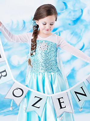 Fantasias de Cosplay Princesa / Conto de Fadas Cosplay de Filmes Azul Cor Única Vestido Dia Das Bruxas / Natal / Ano Novo Criança Chiffon