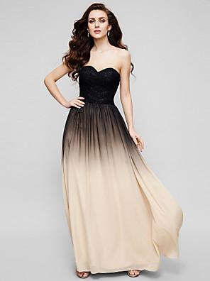 ts couture® formelle aftenkjole - farve gradient en-line kæreste gulvlange chiffon / blonde med blonder