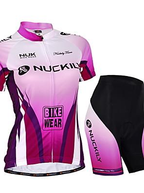 NUCKILY® חולצת ג'רסי ומכנס קצר לרכיבה לנשים / יוניסקס שרוול קצר אופנייםעמיד למים / נושם / עמיד אולטרה סגול / רוכסן עמיד למים / רוכסן קדמי
