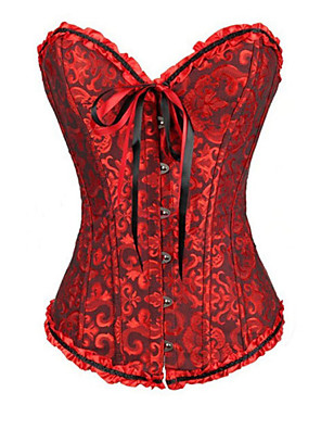 Women Overbust Corset Nightwear,Sexy / Print / Push-Up Jacquard-Medium Polyester Red / Green Women's