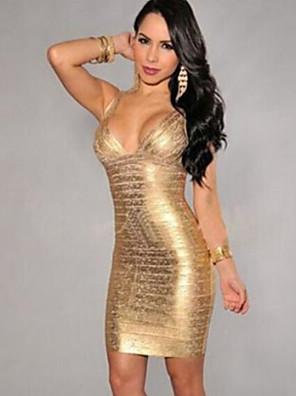 כל העונות פוליאסטר צהוב ללא שרוולים מיני כתפיה V עמוק אחיד סקסי מסיבה\קוקטייל שמלה צינור נשים מיקרו-אלסטי בינוני (מדיום)