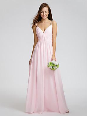 Lanting Bride® באורך  הברך שיפון שמלה לשושבינה - גזרת A רצועות ספגטי עם בד נשפך בצד / בד בהצלבה