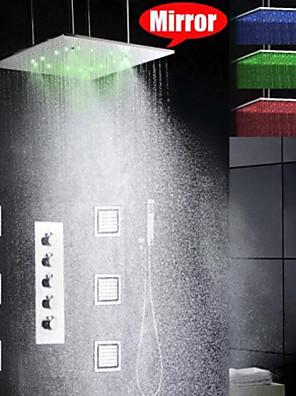 샤워 수전 - 모던 - LED / 레인 샤워 / 사이드스프레이 / 핸드샤워 포함 - 황동 (크롬)