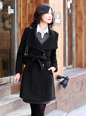 Tavaszi / Őszi / Téli-Női Kabát,Egyszínű Hosszú ujj Fekete / Barna Poliészter Nem átlátszó / Vastag