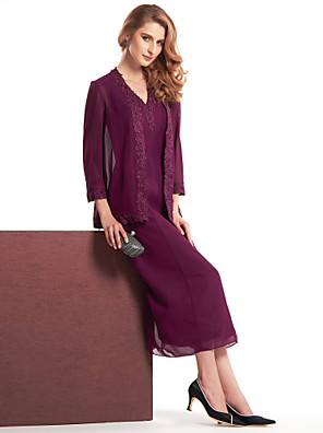 Sheath / Column Mother of the Bride Dress Tea-length 3/4 Length Sleeve Chiffon with Lace