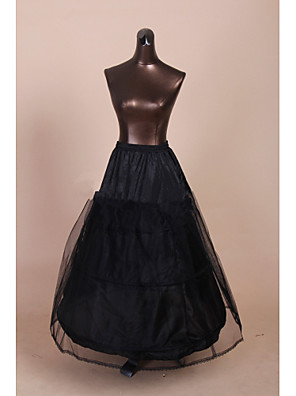 תחתונית  A- קו תחתוניות / סליפ שמלת נשף / שובל קפלה אורך עד לרצפה / אורךTea 2 רשתות בד טול / פוליאסטר שחור