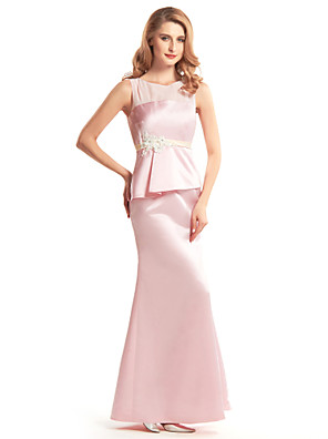 Trumpet / Mermaid Mother of the Bride Dress Ankle-length Sleeveless Satin with Appliques / Buttons