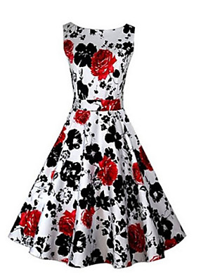 Women's Party/Cocktail Vintage A Line Dress,Print Strap Above Knee Sleeveless Red / Black / Purple Cotton All Seasons