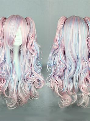 Lolita Wigs Sweet Lolita Zářící barvy Dlouhé Růžová / Modrá Lolita Paruky 60 CM Cosplay Paruky Patchwork Paruka Pro Dámské