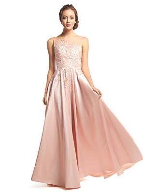 TS couture® 공식적인 저녁은 구슬 장식과 라인 특종 바닥 길이 태 피터 / 얇은 명주 그물 드레스