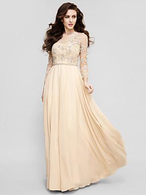 נשף / ערב רישמי שמלה גזרת A עם תכשיטים עד הריצפה שיפון עם אפליקציות / חרוזים / סרט