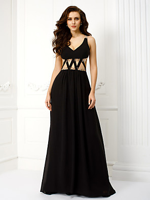 TS Couture® Formal Evening Dress - Beautiful Back Plus Size / Petite Sheath / Column V-neck Floor-length Chiffon with Bandage